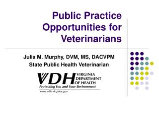 Public Practice Opportunities for Veterinarians