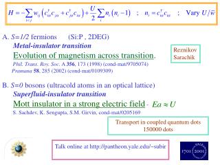 A.  S=1/2  fermions	(Si:P , 2DEG) Metal-insulator transition Evolution of magnetism across transition .