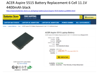 ACER Aspire 5515 Battery Replacement 6 Cell 11.1V 4400mAh bl