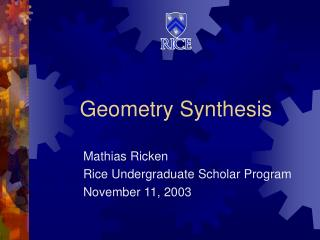 Geometry Synthesis