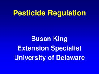 Pesticide Regulation