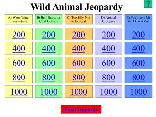 Wild Animal Jeopardy
