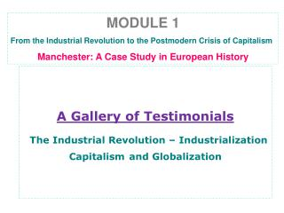 A Gallery of Testimonials The Industrial Revolution – Industrialization Capitalism and Globalization