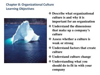 Chapter 8: Organizational Culture Learning Objectives