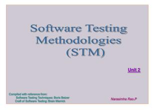 Software Testing Methodologies     (STM)