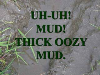 UH-UH! MUD! THICK OOZY MUD.