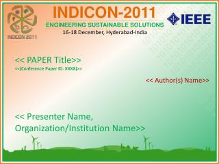 << PAPER Title>> <<(Conference Paper ID: XXXX)>>