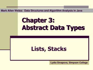 Chapter 3:  Abstract Data Types