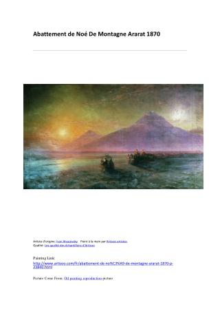 Abattement de Noé De Montagne Ararat 1870-peinture à l'huile