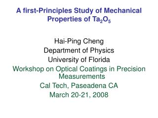 A first-Principles Study of Mechanical Properties of Ta 2 O 5