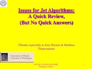 Issues for Jet Algorithms: A Quick Review, (But No Quick Answers)