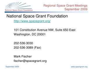 Regional Space Grant Meetings September 2009