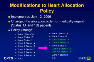 Modifications to Heart Allocation Policy