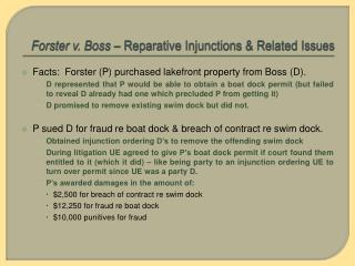 Forster v. Boss  – Reparative Injunctions & Related Issues
