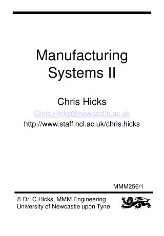 Manufacturing Systems II