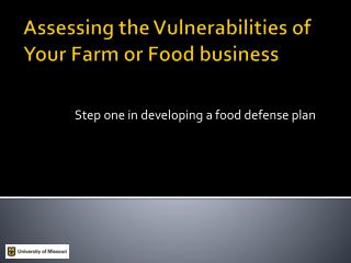 Assessing the Vulnerabilities of Your Farm or Food business