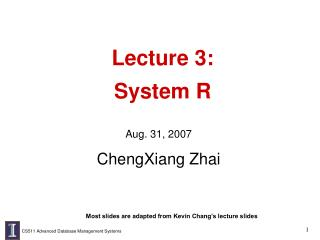 Lecture 3:  System R