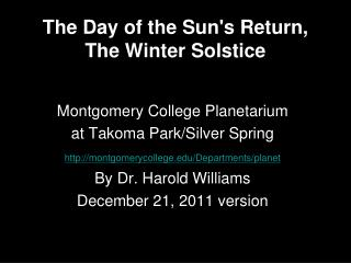 The Day of the Sun's Return, The Winter Solstice