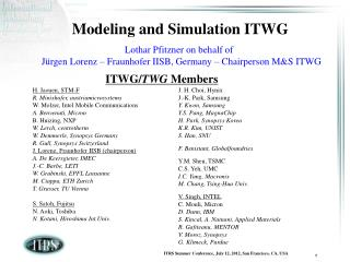 Modeling and Simulation ITWG Lothar Pfitzner on behalf of Jürgen Lorenz – Fraunhofer IISB, Germany – Chairperson M&amp