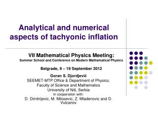 Analytical and numerical aspects of tachyonic inflation