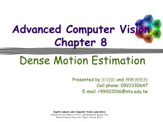 Advanced Computer Vision Chapter 8