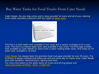 Buy Water Tanks for Food Trucks From Cater Needs
