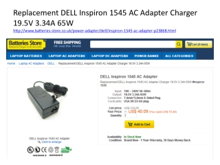 Replacement DELL Inspiron 1545 AC Adapter Charger 19.5V 3.34