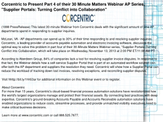 Corcentric to Present Part 4 of their 30 Minute Matters