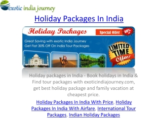 Holidays Packages In India