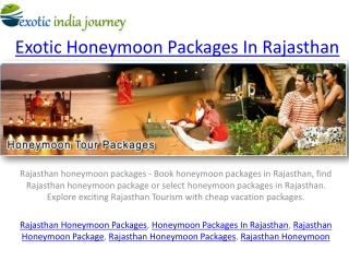 rajasthan honeymoon tour packages