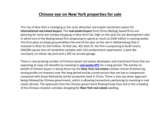 Chinese eye on New York properties for sale