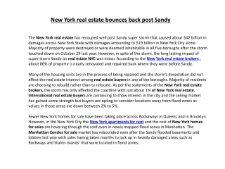 New York real estate bounces back post Sandy