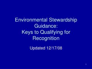 Environmental Stewardship Guidance: Keys to Qualifying for Recognition