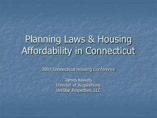 Planning Laws & Housing Affordability in Connecticut