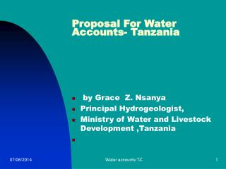 Proposal For Water Accounts- Tanzania