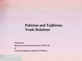 Pakistan and Tajikistan Trade Relations