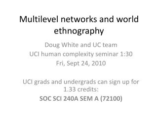 Multilevel networks and world ethnography