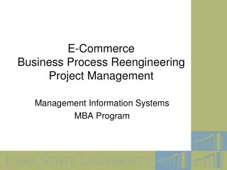 E-Commerce Business Process Reengineering Project Management