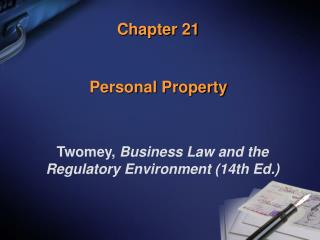 Chapter 21 Personal Property