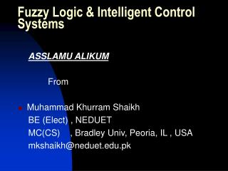 Fuzzy Logic & Intelligent Control Systems