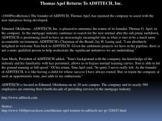 thomas apel returns to adfitech, inc.
