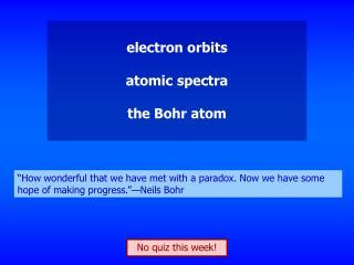 electron orbits atomic spectra the Bohr atom