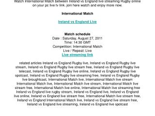 watch ireland vs england live streaming rugby international