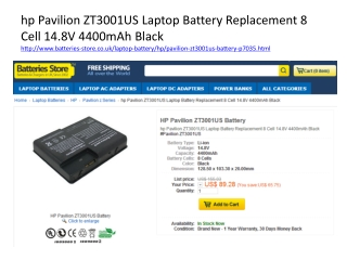 hp Pavilion ZT3001US Laptop Battery Replacement 8 Cell 14.8V