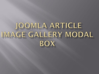 Joomla Article Image Gallery Modal Box