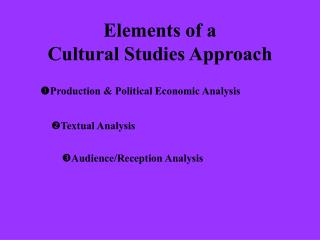 Elements of a  Cultural Studies Approach