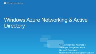 Windows Azure Networking & Active Directory