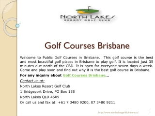 Public Golf Courses with Best Facilities in Brisbane at northlakesgolfclub.com.au