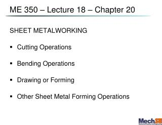 ME 350 – Lecture 18 – Chapter 20