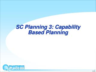 SC Planning 3: Capability Based Planning
